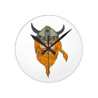 Relógio Redondo Desenho da cabeça do guerreiro de Viking do