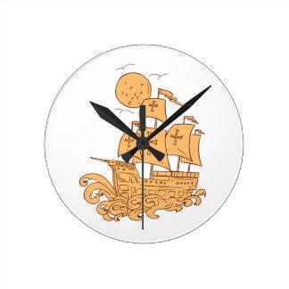 Relógio Redondo Desenho da lua do navio de navigação de Caravel