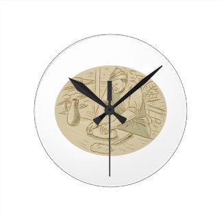 Relógio Redondo Desenho oval de amasso da massa de pão do padeiro