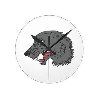 Relógio Redondo Desenho principal da rosnadura do lobo cinzento