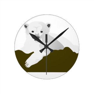 Relógio Redondo Desenhos animados do urso polar