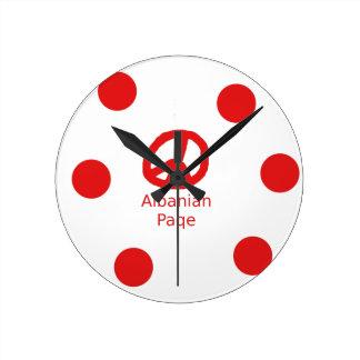 Relógio Redondo Design albanês do símbolo de paz