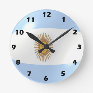 Relógio Redondo Design argentino da bandeira