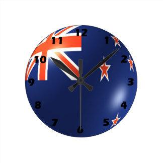 Relógio Redondo Design da bandeira de Nova Zelândia