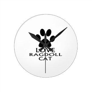 RELÓGIO REDONDO DESIGN DO CAT DO AMOR RAGDOLL