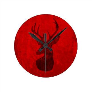 Relógio Redondo Design do veado vermelho