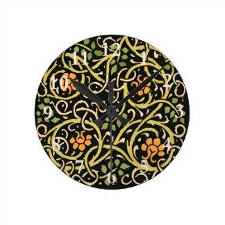 Relógio Redondo Design floral preto do impressão da arte de