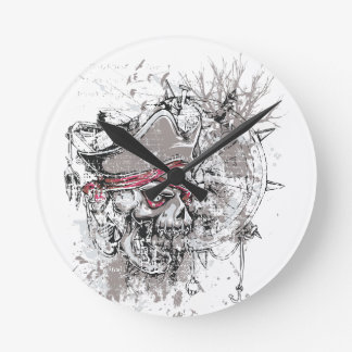 Relógio Redondo design inoperante pirateado do vintage do crânio