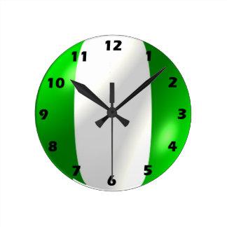 Relógio Redondo Design nigeriano da bandeira