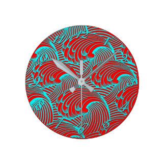 Relógio Redondo Design & números azuis vermelhos da onda do pulso