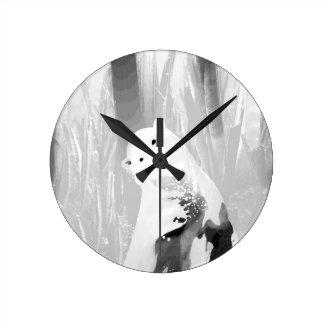 Relógio Redondo Design preto e branco original do urso polar