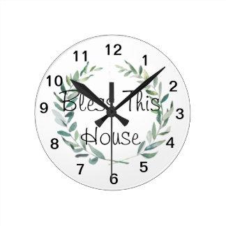 Relógio Redondo Design rústico da grinalda da magnólia da aguarela
