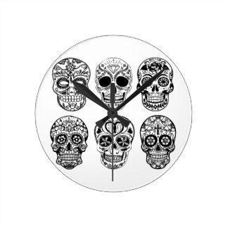Relógio Redondo Diâmetro de los Muertos Crânio (dia do morto)