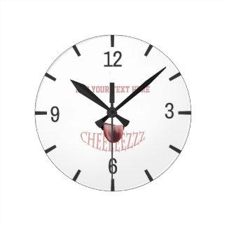 Relógio Redondo Diga o queijo! customizável engraçado