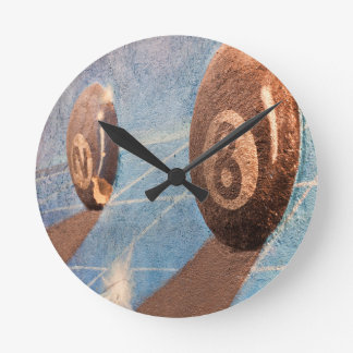 Relógio Redondo Disparado da ilustração das bolas de bilhar na