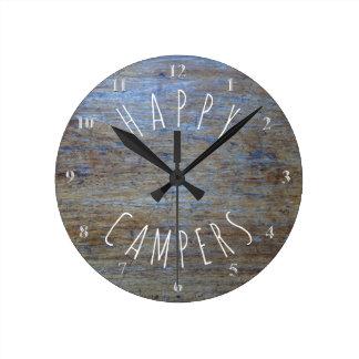 Relógio Redondo Divertimento de acampamento rústico da