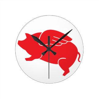 Relógio Redondo 🐷 do porco do vôo