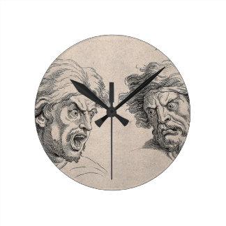Relógio Redondo Dois desenhos das caras irritadas