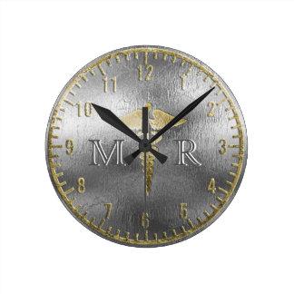 Relógio Redondo Doutor de prata Pulso de disparo do monograma