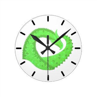 Relógio Redondo Dragão do coração do verde limão no branco