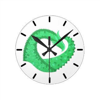 Relógio Redondo Dragão verde do coração no branco