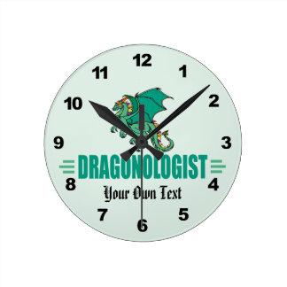 Relógio Redondo Dragão verde engraçado Dragonologist