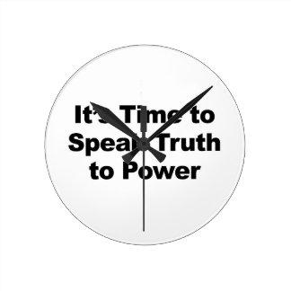 Relógio Redondo É hora de falar a verdade ao poder