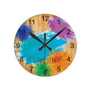 1ab2617cd4c Relógio Redondo É hora de pintar a pintura do pintor do artista