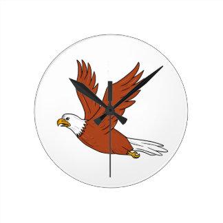 Relógio Redondo Eagle irritado que voa desenhos animados