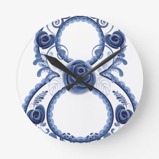 Relógio Redondo Eight2 floral azul