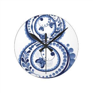 Relógio Redondo Eight3 floral azul