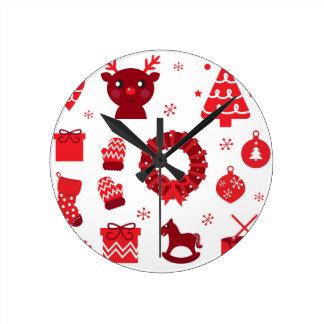 Relógio Redondo Elementos de surpresa do xmas vermelhos
