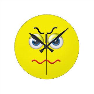 Relógio Redondo Emoji irritado