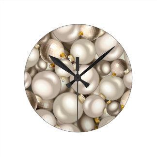 Relógio Redondo enfeites de natal de prata