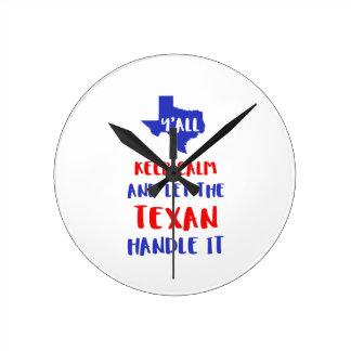 Relógio Redondo Engraçado você camisetas da menina de Texas