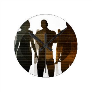 Relógio Redondo Equipe do negócio dos profissionais que estão para