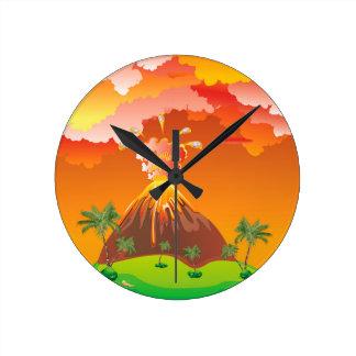 Relógio Redondo Erupção 2 do vulcão dos desenhos animados