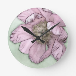Relógio Redondo Esboço cor-de-rosa da flor da peônia