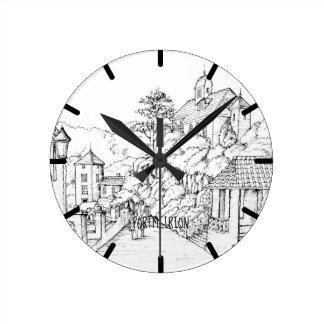 Relógio Redondo Esboço norte da caneta e da tinta de Portmeirion