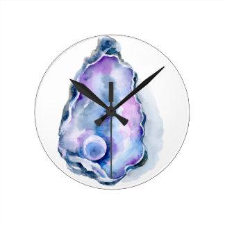 Relógio Redondo Escudo de ostra da aguarela com pérola