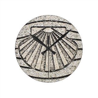 Relógio Redondo Escudo do EL Camino, pavimento, espanha