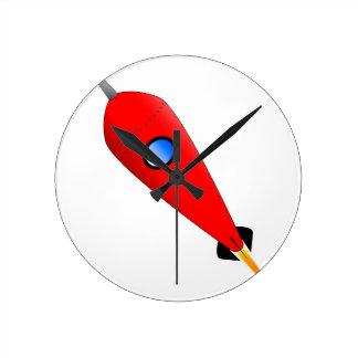 Relógio Redondo Espaço Rocket vermelho