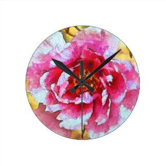Relógio Redondo Estilo cor-de-rosa de Van Gogh da peônia