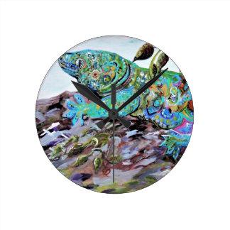 Relógio Redondo Estilo do art deco do lagarto de Nova Caledônia