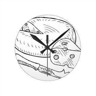 Relógio Redondo Estilo retro gravura a água-forte do vintage do