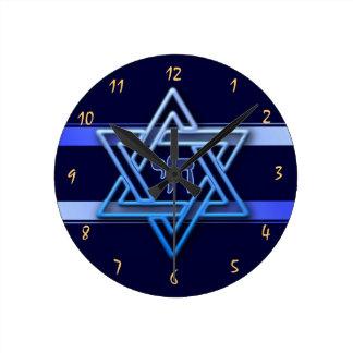 Relógio Redondo Estrela de David lindo no fundo azul judaico
