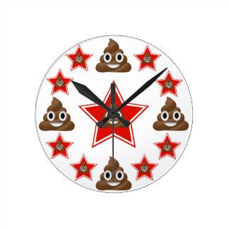 Relógio Redondo Estrela Emoji Poo