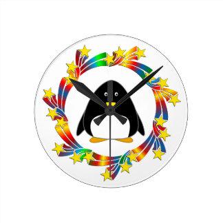 Relógio Redondo Estrelas do pinguim