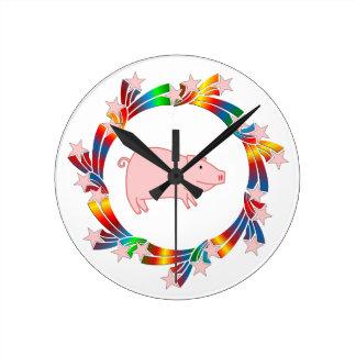 Relógio Redondo Estrelas do porco