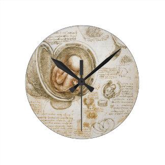 Relógio Redondo Estudos de Leonardo da Vinci do feto no ventre